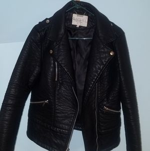 Black faux-leather moto jacket